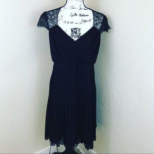 ASOS Maternity Black Lace Pleated Dress